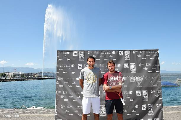 Stan Wawrinka of Switzerland and Marin Cilic of Croatia at the Jet d'Eau Fountain on May 18 2015 in Geneva Switzerland