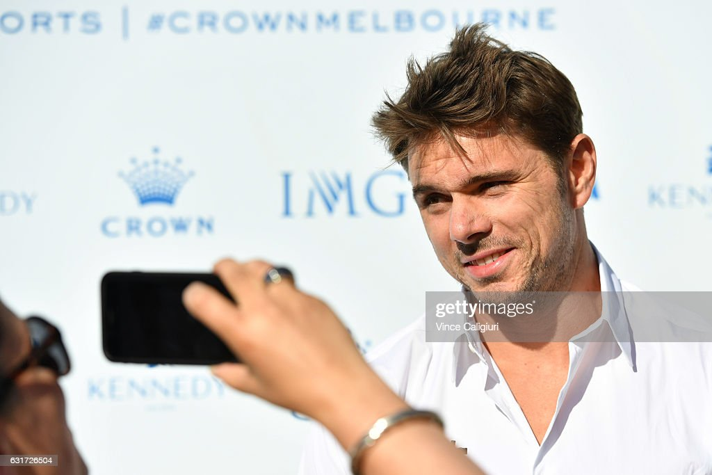 Stan Wawrinka of Switzerland arrives at the 2017 Australian Open party at Crown on January 15, 2017 in Melbourne, Australia.
