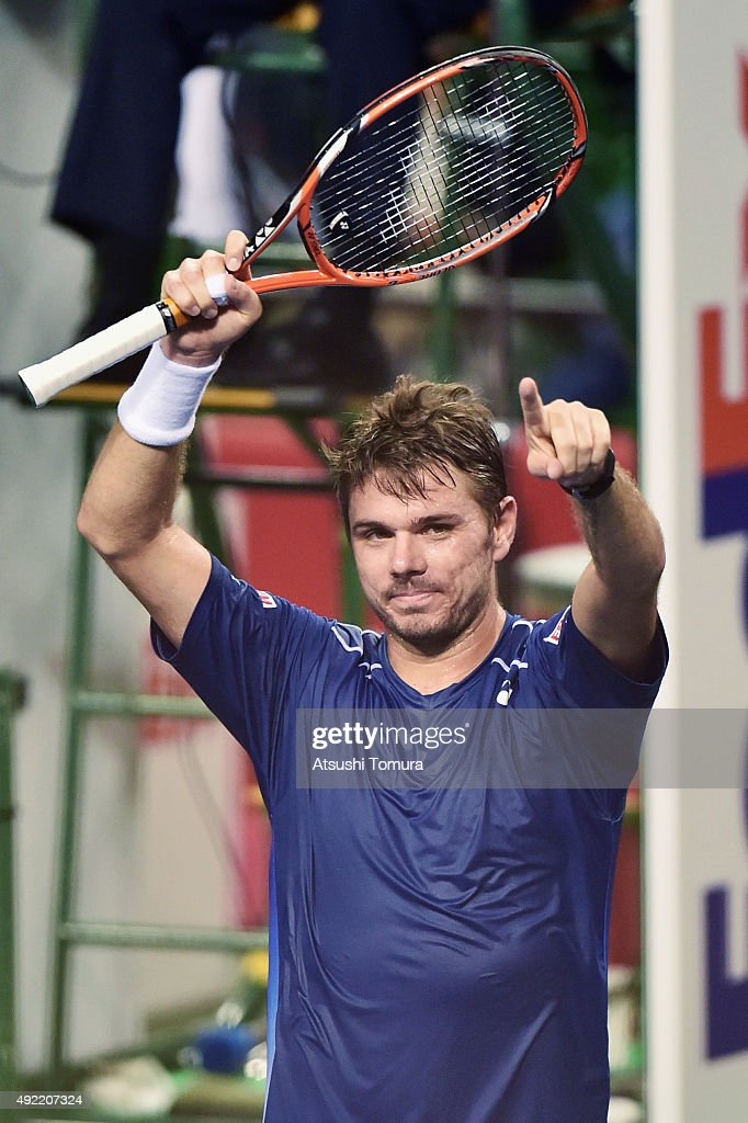 Stan Wawrinka of Switzerland celebrates after winning the men's singles final match against Benoit Paire of France on Day Seven of the Rakuten Open 2015 at Ariake Colosseum on October 11, 2015 in Tokyo, Japan.