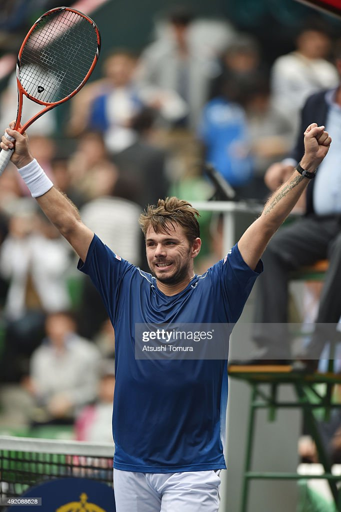 Stan Wawrinka of Switzerland celebrates after winning the men's singles semi final match against Gilles Muller of Luzembourg on day six of Rakuten Open 2015 at Ariake Colosseum on October 10, 2015 in Tokyo, Japan.