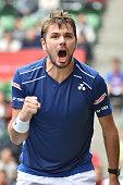 Stan Wawrinka of Switzerland celebrates after winning the men's singles semi final match against Gilles Muller of Luzembourg on day six of Rakuten...