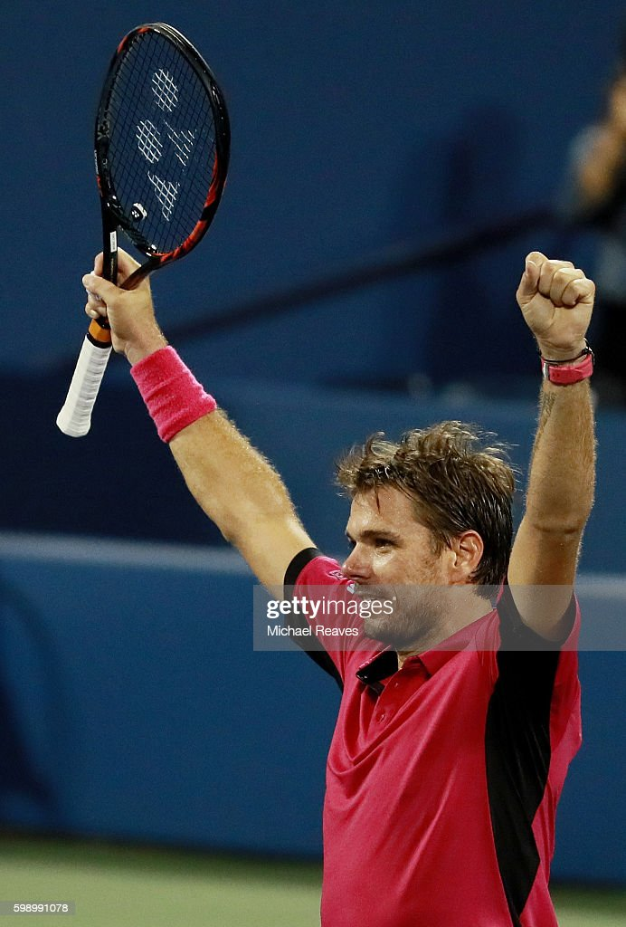 Stan Wawrinka of Switzerland celebrates defeating Daniel Evans of Great Britain during his third round Men's Singles match on Day Six of the 2016 US Open at the USTA Billie Jean King National Tennis Center on September 3, 2016 in the Flushing neighborhood of the Queens borough of New York City.