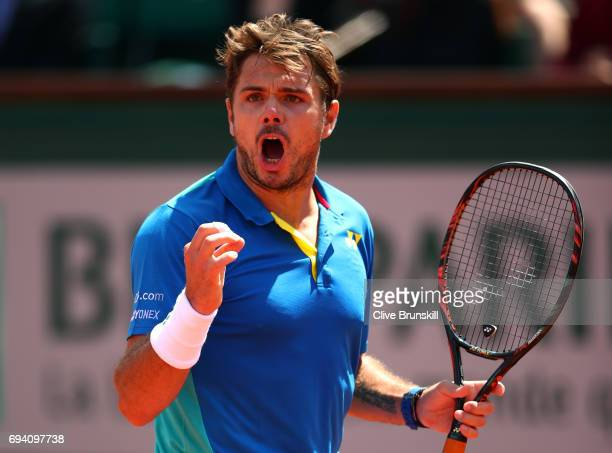 Stan Wawrinka of Switzerland celebrates during the men's singles semi final match against Andy Murray of Great Britain on day thirteen of the 2017...