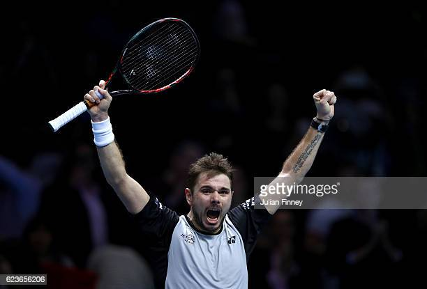 Stan Wawrinka of Switzerland celebrates match point during his men's singles match against Marin Cilic of Croatia on day four of the ATP World Tour...