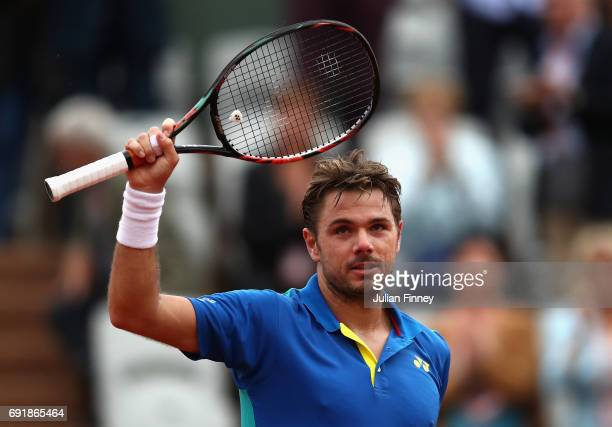 Stan Wawrinka of Switzerland celebrates victory during the mens singles third round match against Fabio Fognini of Italy on day seven of the 2017...