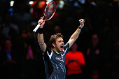Stan Wawrinka of Switzerland celebrates victory in the round robin singles match against Marin Cilic of Croatia on day six of the Barclays ATP World...
