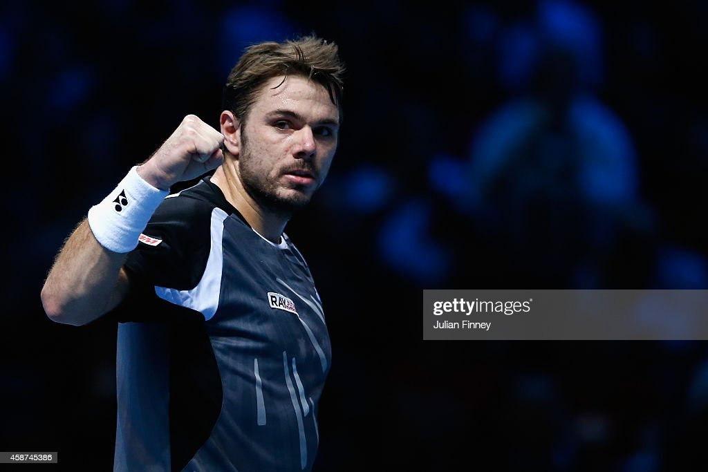 Stan Wawrinka of Switzerland celerates defeating Tomas Berdych of Czech Republic in the round robin during day two of the Barclays ATP World Tour Finals tennis at the O2 Arena on November 10, 2014 in London, England.