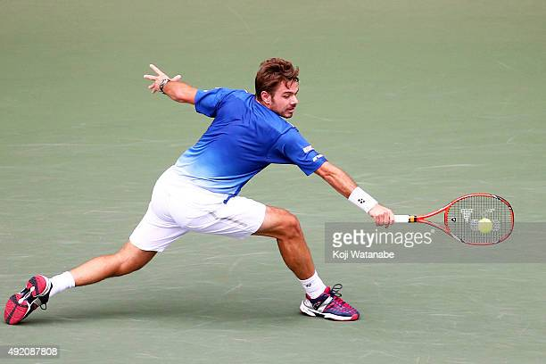 Stan Wawrinka of Switzerland competes against Gilles Muller of Luzembourg during the men's singles semi final match on day six of Rakuten Open 2015...