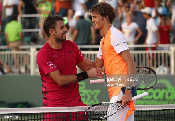 Stan Wawrinka of Switzerland congratulates Alexander Zverev of Germany after his three sets win at Crandon Park Tennis Center on March 28 2017 in Key...