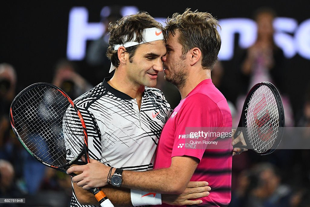 Stan Wawrinka of Switzerland congratulates Roger Federer of Switzerland on winning their semifinal match on day 11 of the 2017 Australian Open at Melbourne Park on January 26, 2017 in Melbourne, Australia.