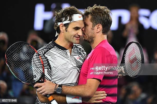 Stan Wawrinka of Switzerland congratulates Roger Federer of Switzerland on winning their semifinal match on day 11 of the 2017 Australian Open at...