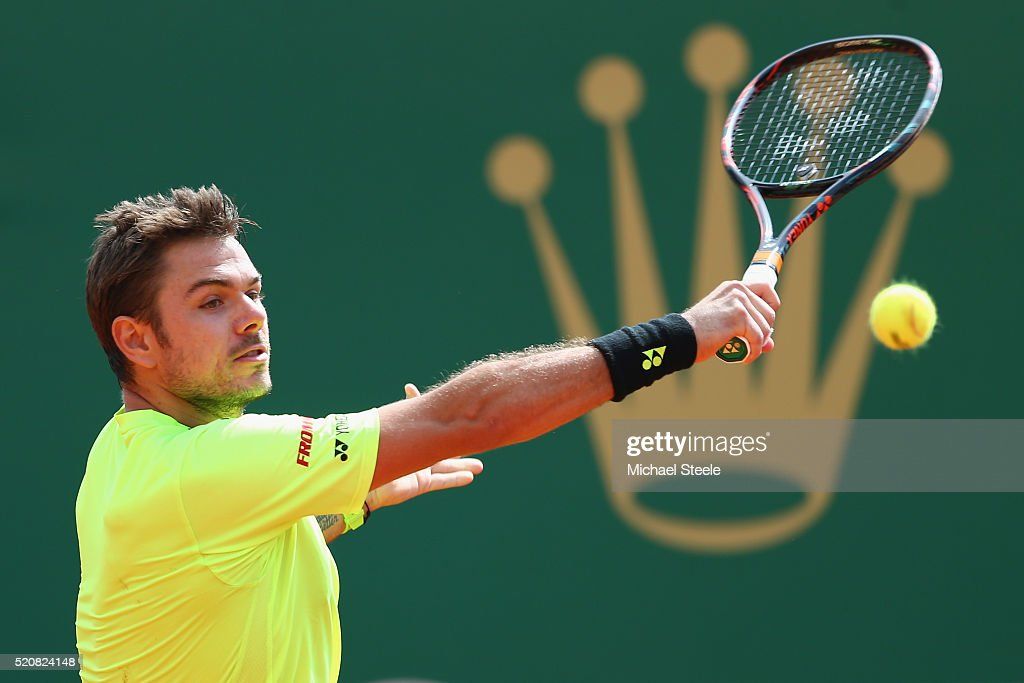 Stan Wawrinka of Switzerland during his third round match against Philipp Kohlschreiber of Germany during the Monte Carlo Rolex Masters at MonteCarlo...