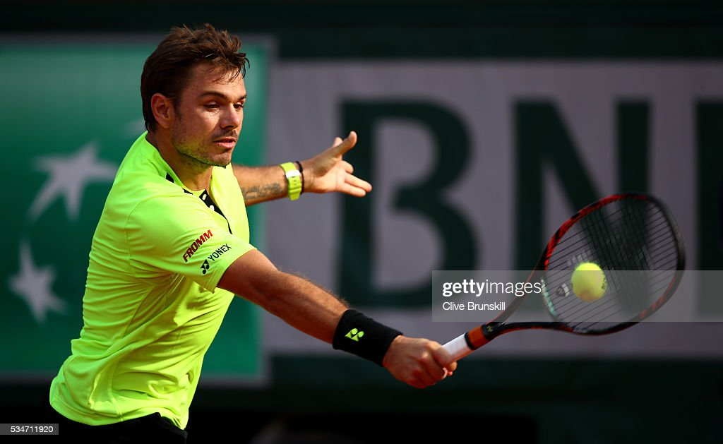 Stan Wawrinka of Switzerland hits a backhand during the Men's Singles third round match against Jeremy Chardy of France on day six of the 2016 French Open at Roland Garros on May 27, 2016 in Paris, France.