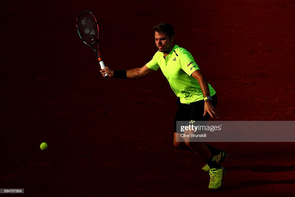 Stan Wawrinka of Switzerland hits a forehand during the Men's Singles third round match against Jeremy Chardy of France on day six of the 2016 French Open at Roland Garros on May 27, 2016 in Paris, France.