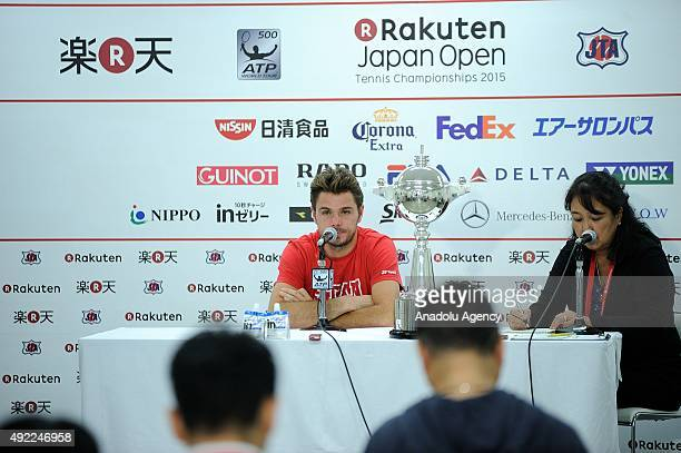 Stan Wawrinka of Switzerland holds a press conference after winning the men's singles final match against Benoit Paire of France on Day Seven of the...