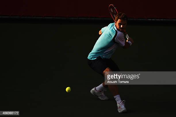 Stan Wawrinka of Switzerland in action during the men's singles first round match against Tatsuma Ito of Japan on day two of Rakuten Open 2014 at...