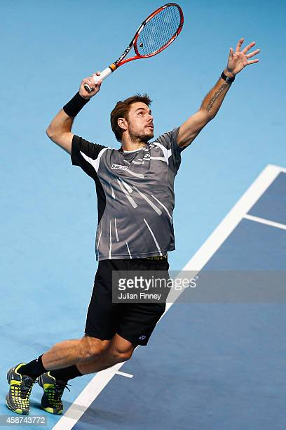 Stan Wawrinka of Switzerland in action in his match against Tomas Berdych of Czech Republic in the round robin during day two of the Barclays ATP...