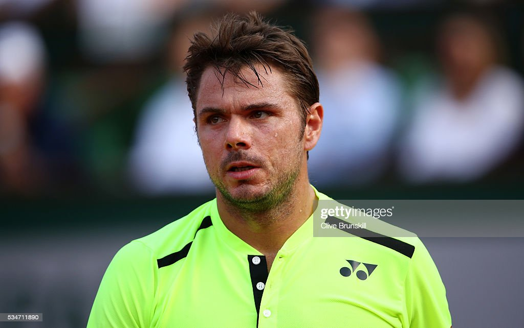 Stan Wawrinka of Switzerland looks on during the Men's Singles third round match against Jeremy Chardy of France on day six of the 2016 French Open at Roland Garros on May 27, 2016 in Paris, France.