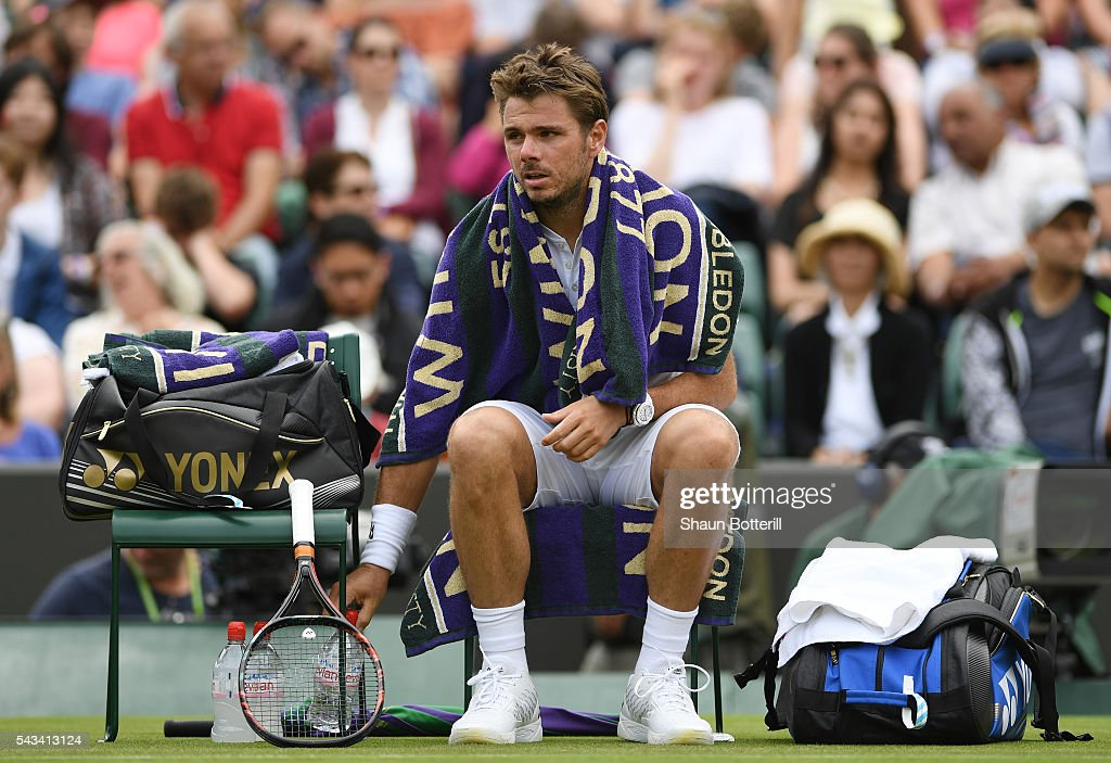 Stan Wawrinka of Switzerland looks on following victory during the Men's Singles first round match against Taylor Fritz of The United States on day two of the Wimbledon Lawn Tennis Championships at the All England Lawn Tennis and Croquet Club on June 28, 2016 in London, England.