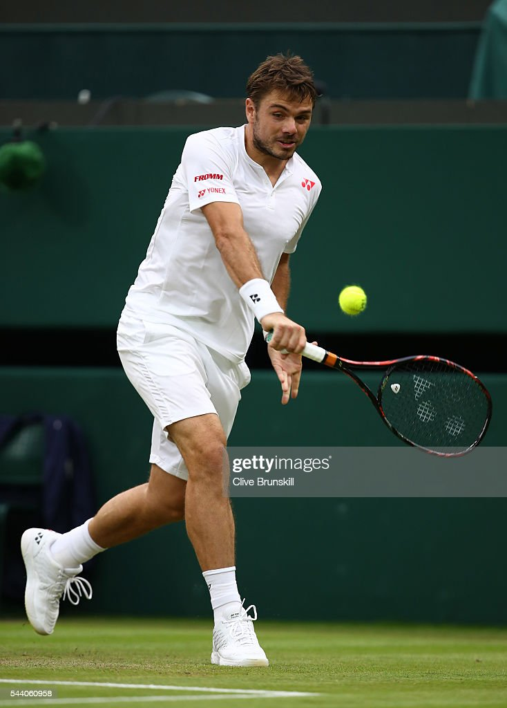 Stan Wawrinka of Switzerland plays a backhand during the Men's Singles second round match against Juan Martin Del Potro of Argentina on day five of the Wimbledon Lawn Tennis Championships at the All England Lawn Tennis and Croquet Club on July 1, 2016 in London, England.