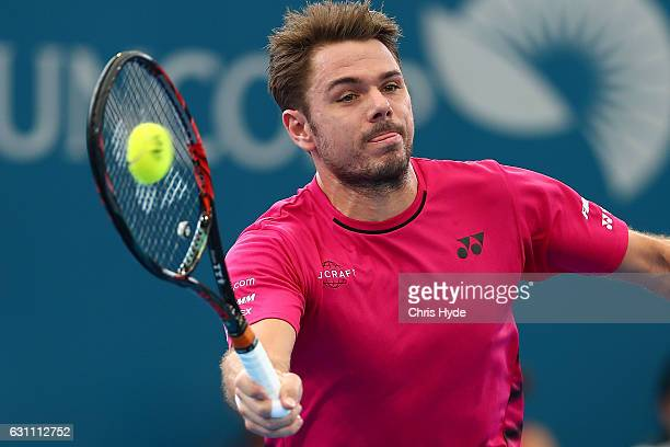 Stan Wawrinka of Switzerland plays a forehand during his semi final match against Kei Nishikori of Japan during day seven of the 2017 Brisbane...