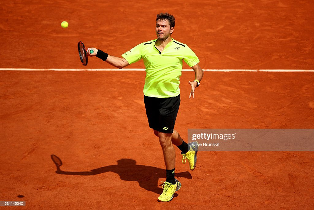 Stan Wawrinka of Switzerland plays a forehand during the Men's Singles second round match against Taro Daniel of Japan on day four of the 2016 French Open at Roland Garros on May 25, 2016 in Paris, France.
