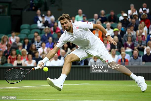 Stan Wawrinka of Switzerland plays a forehand during the Men's Singles second round match against Juan Martin Del Potro of Argentina on day five of...