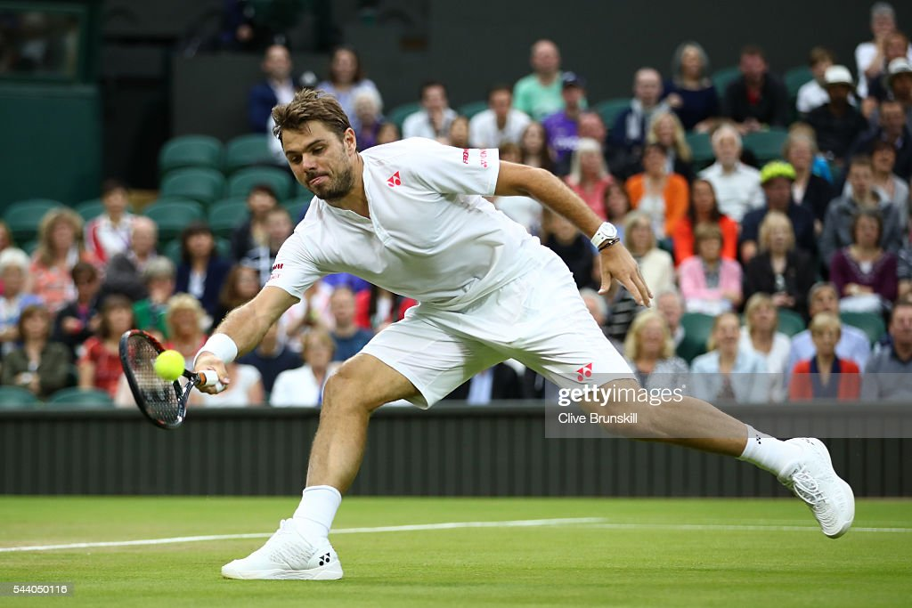 Stan Wawrinka of Switzerland plays a forehand during the Men's Singles second round match against Juan Martin Del Potro of Argentina on day five of the Wimbledon Lawn Tennis Championships at the All England Lawn Tennis and Croquet Club on July 1, 2016 in London, England.