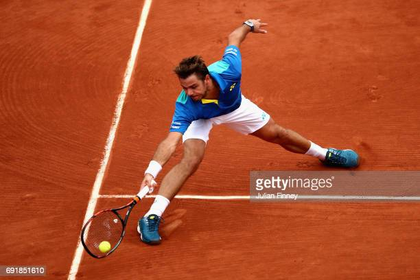 Stan Wawrinka of Switzerland plays a forehand during the mens singles third round match against Fabio Fognini of Italy on day seven of the 2017...