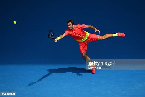 Stan Wawrinka of Switzerland plays a forehand in his third round match against Lukas Rosol of the Czech Republic during day six of the 2016...