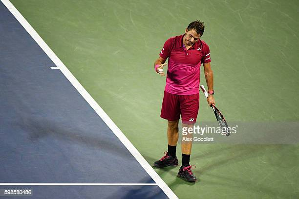 Stan Wawrinka of Switzerland reacts against Alessandro Giannessi of Italy during his second round Men's Singles match on Day Four of the 2016 US Open...