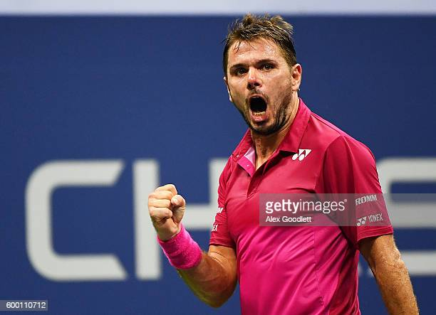 Stan Wawrinka of Switzerland reacts against Juan Martin del Potro of Argentina during their Men's Singles Quarterfinals Match on Day Ten of the 2016...