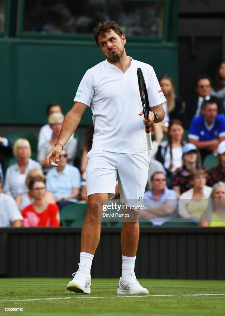 Stan Wawrinka of Switzerland reacts during the Gentlemen's Singles first round match against Daniil Medvedev of Russia on day one of the Wimbledon Lawn Tennis Championships at the All England Lawn Tennis and Croquet Club on July 3, 2017 in London, England.
