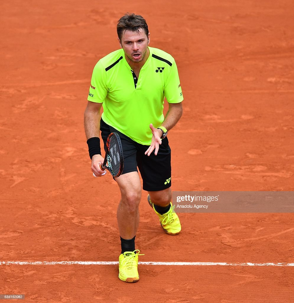 Stan Wawrinka of Switzerland reacts during the match against to Taro Daniel of Japan (not seen) in their men's single 2nd round match at the French Open tennis tournament at Roland Garros in Paris, France on May 25, 2016.