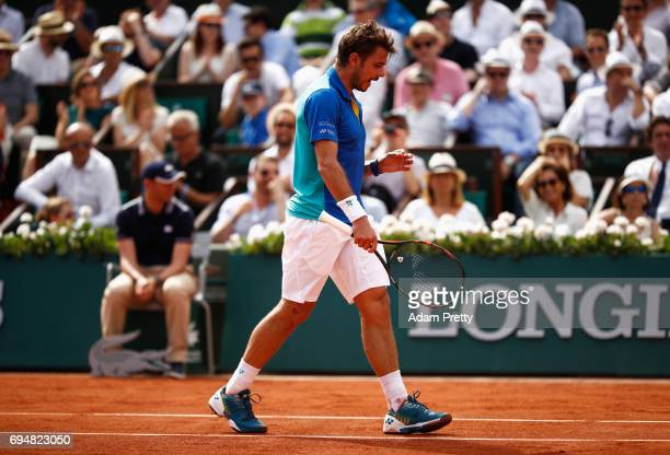 Stan Wawrinka of Switzerland reacts during the men's singles final against Rafael Nadal of Spain on day fifteen of the French Open at Roland Garros...