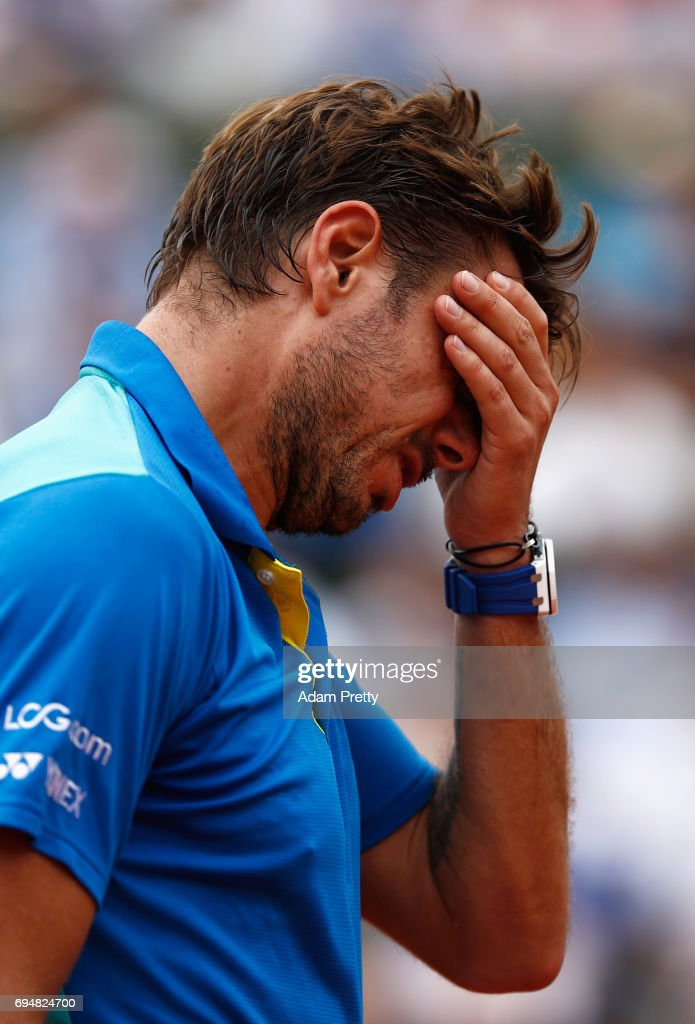 Stan Wawrinka of Switzerland reacts during the men's singles final against Rafael Nadal of Spain on day fifteen of the French Open at Roland Garros on June 11, 2017 in Paris, France.