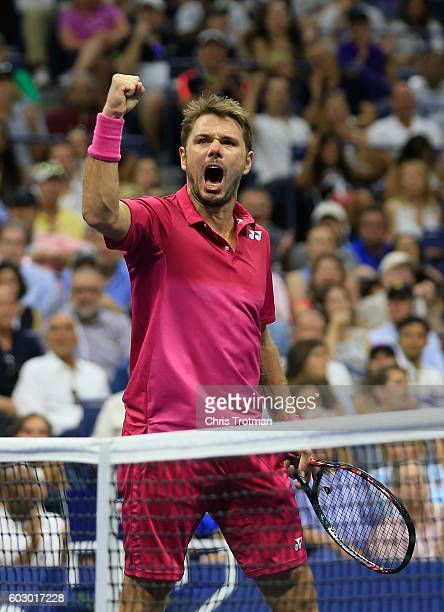 Stan Wawrinka of Switzerland reacts to a point against Novak Djokovic of Serbia during their Men's Singles Final Match on Day Fourteen of the 2016 US...