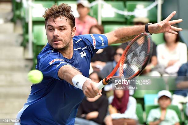 Stan Wawrinka of Switzerland returns a shot during the men's singles match against Radek Stepanek of Czech Republic on day two of Rakuten Open 2015...