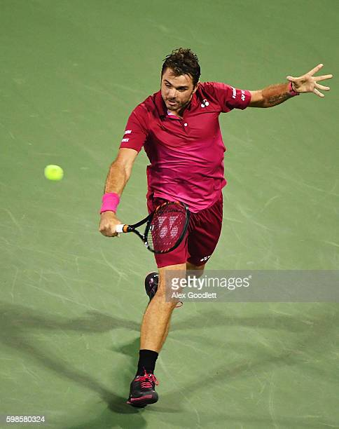Stan Wawrinka of Switzerland returns a shot to Alessandro Giannessi of Italy during his second round Men's Singles match on Day Four of the 2016 US...