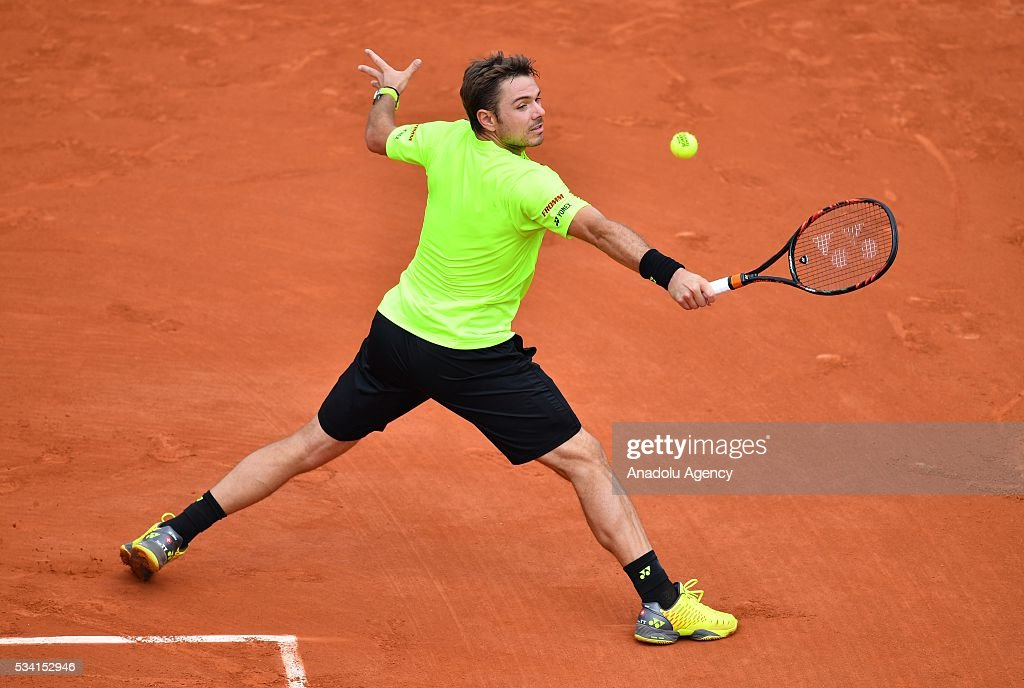 Stan Wawrinka of Switzerland returns to Taro Daniel of Japan (not seen) during their men's single 2nd round match at the French Open tennis tournament at Roland Garros in Paris, France on May 25, 2016.