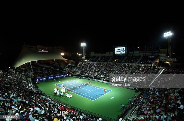 Stan Wawrinka of Switzerland serves against Sergiy Stakhovsky of Ukraine during day four of the ATP Dubai Duty Free Tennis Championship at the Dubai...