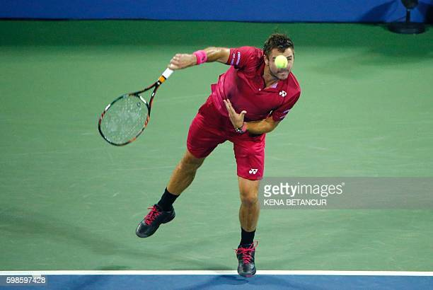 Stan Wawrinka of Switzerland serves Alessandro Giannessi of Italy during their 2016 US Open Men's Singles match at the USTA Billie Jean King National...