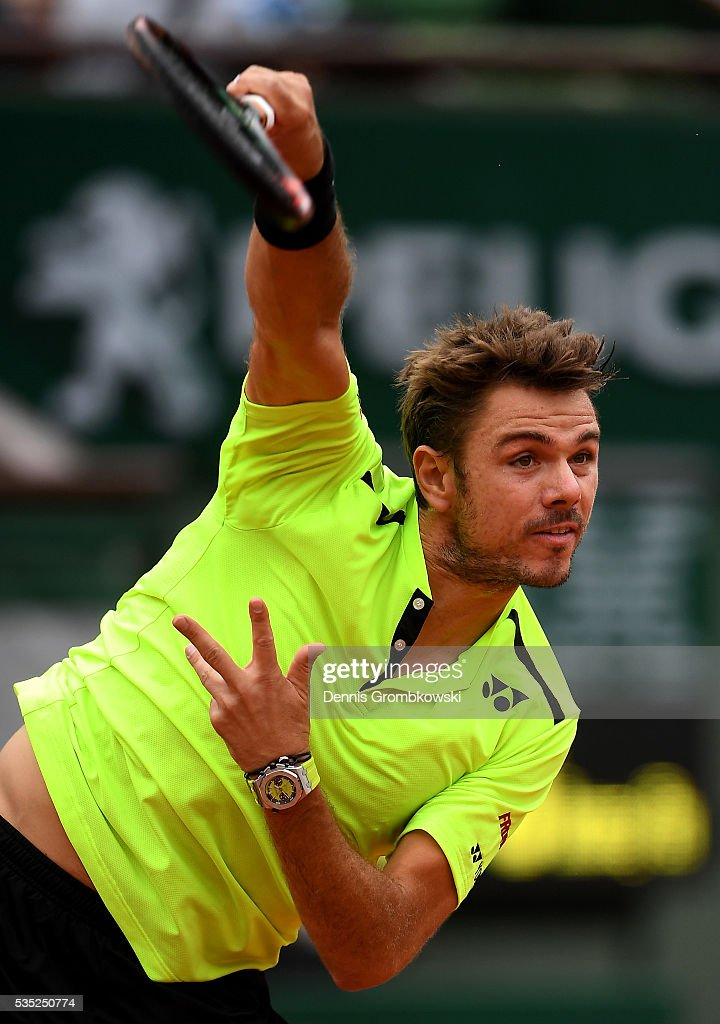 Stan Wawrinka of Switzerland serves during the Men's Singles fourth round match against Viktor Troicki of Serbia on day eight of the 2016 French Open at Roland Garros on May 29, 2016 in Paris, France.