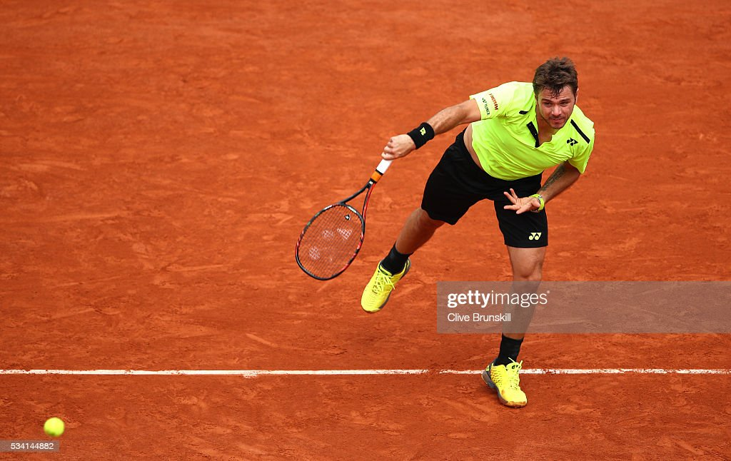 Stan Wawrinka of Switzerland serves during the Men's Singles second round match against Taro Daniel of Japan on day four of the 2016 French Open at Roland Garros on May 25, 2016 in Paris, France.