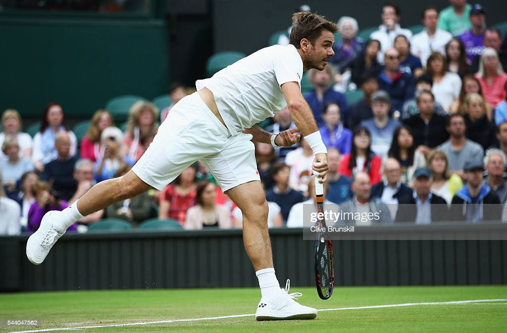 Stan Wawrinka of Switzerland serves during the Men's Singles second round match against Juan Martin Del Potro of Argentina on day five of the Wimbledon Lawn Tennis Championships at the All England Lawn Tennis and Croquet Club on July 1, 2016 in London, England.