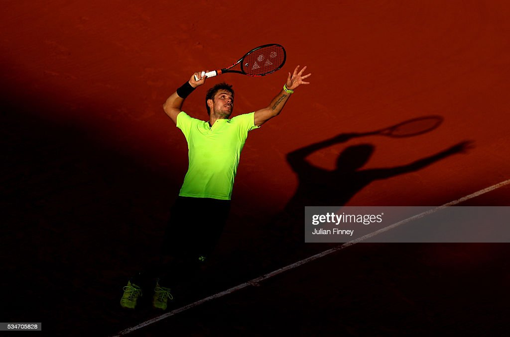 Stan Wawrinka of Switzerland serves during the Men's Singles third round match against Jeremy Chardy of France on day six of the 2016 French Open at Roland Garros on May 27, 2016 in Paris, France.