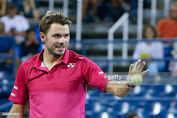 Stan Wawrinka of Switzerland serves to Alessandro Giannessi of Italy during their 2016 US Open Men's Singles match at the USTA Billie Jean King...
