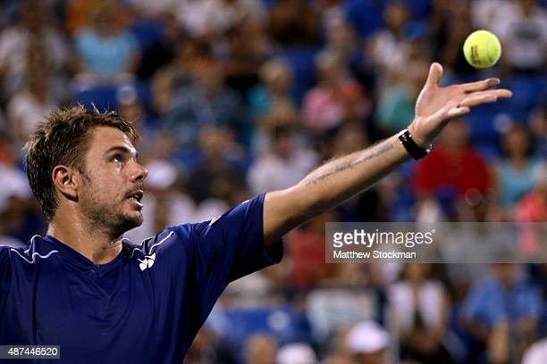 Stan Wawrinka of Switzerland serves to Kevin Anderson of South Africa during their Men's Singles Quarterfinals match on Day Ten of the 2015 US Open...
