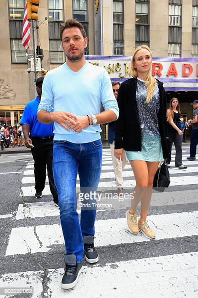 Stan Wawrinka of Switzerland the 2016 US Open Men's Singles champion walks with his girlfriend Donna Vekic of Croatia during the Champions New York...