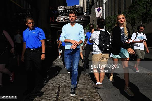 Stan Wawrinka of Switzerland the 2016 US Open Men's Singles champion walks with Donna Vekic of Croatia during the Champions New York City Trophy Tour...